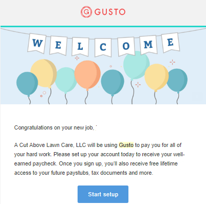 gusto welcome email