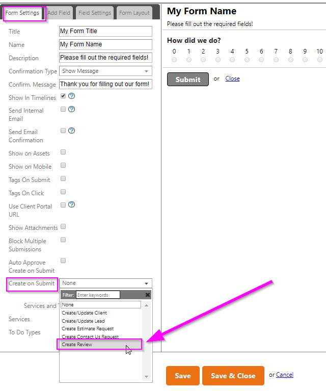 create review form service autopilot