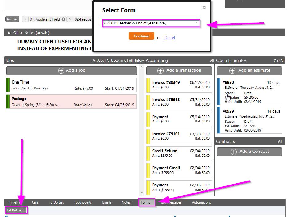 service autopilot client screen