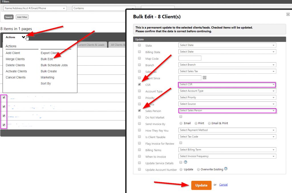how to bulk update clients in Service Autopilot