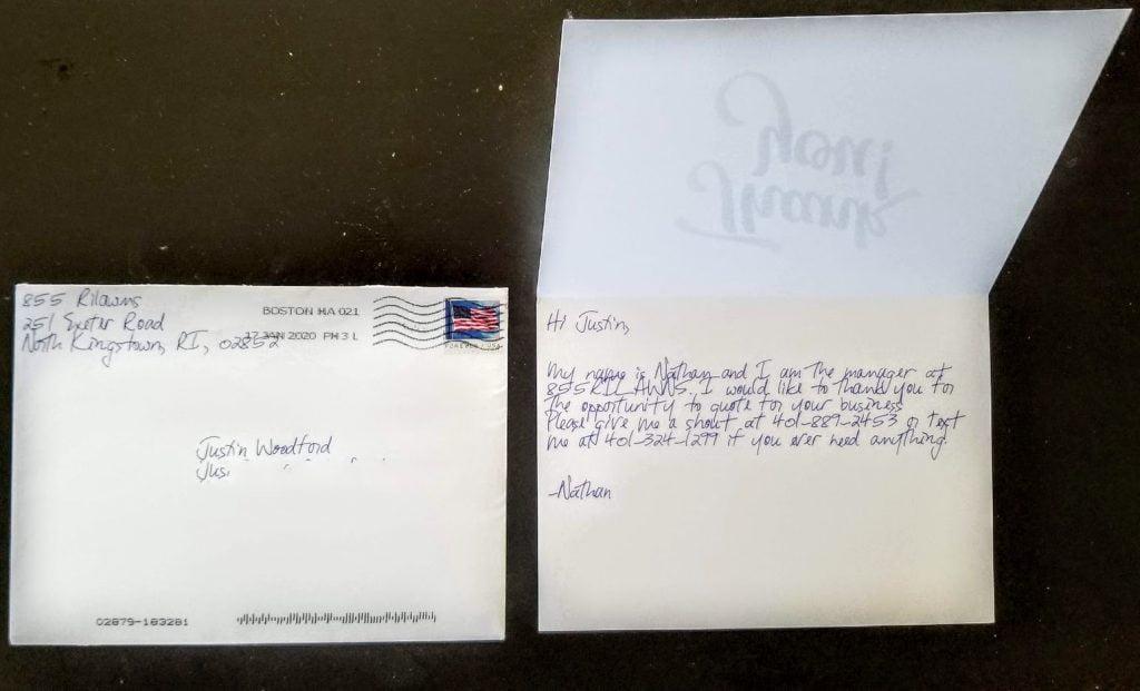 sendjim handwritten card