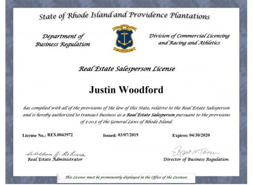 Justin is a registered Realtor Sales Person in Rhode Island